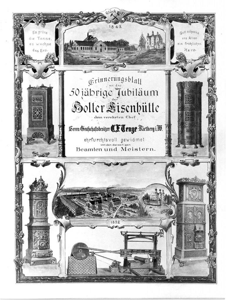 Erinnerungsblatt an das 50jährige Jubiläum der Holter Eisenhütte